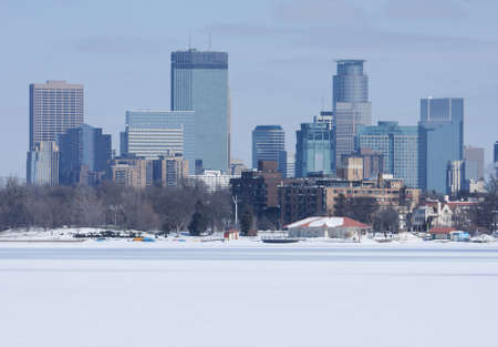 City of Minneapolis as viewed from a frozen lake. photo