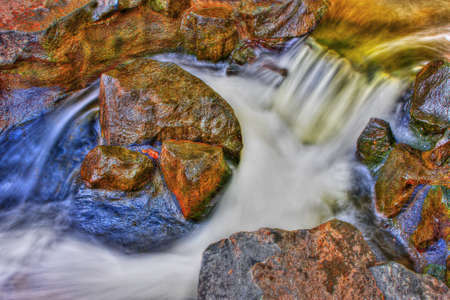 River Rock, Rapids and water fall in HDR High Dynamic Range photo