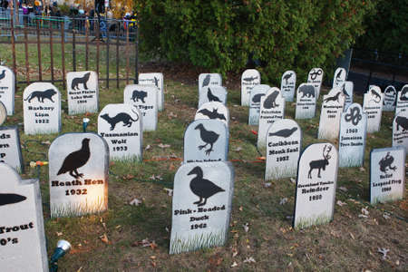 grave site: Animal Extinction grave site Cemetery silhouettes  Stock Photo