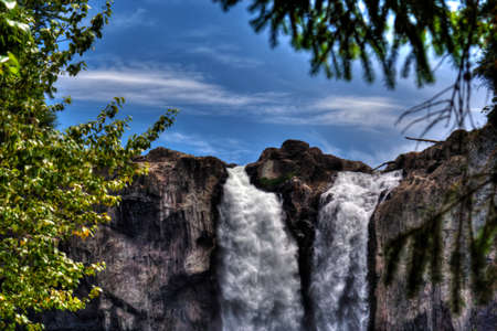 high dynamic range: Water going over the falls at a national forest. Stock Photo