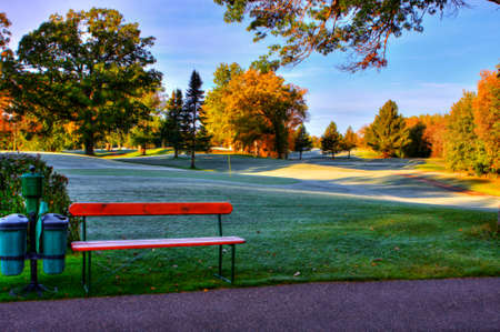 Octobers Fall Colors at the Golf Course in soft focus photo