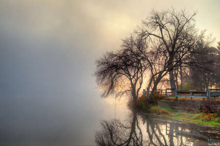 hdr: HDR landscape of a mystic foggy scene