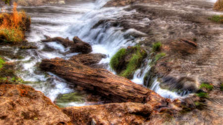 high dynamic range: Colorful scenic waterfall in High Dynamic Range Stock Photo