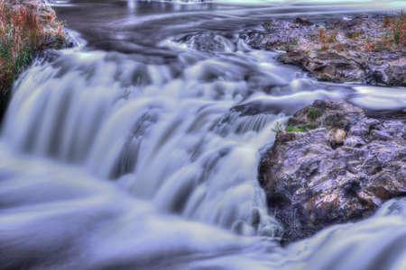 high dynamic range: Colorful scenic waterfall in High Dynamic Range. Stock Photo