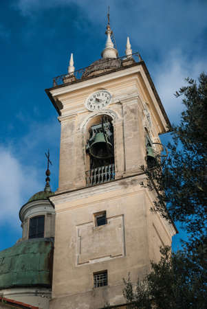 The bell tower of the church San Rocco di Camogli Stock Photo