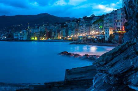 Evening promenade Italian city Camogli
