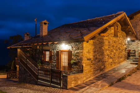 Typical village house in the province of Aosta Valley in Italy photographed at night Stock Photo - 17298675