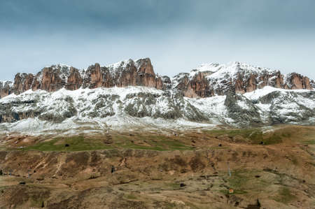 Spring view of the Sella group, next to the pass Pordoi photo