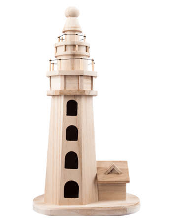not painted: Model wooden lighthouse natural color, not painted Stock Photo