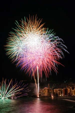 Annual fireworks in the village Camogli, Italy  in honor of the patron San Fortunato Stock Photo