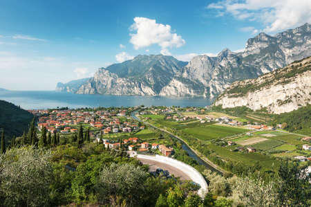 Panoramic view for Lake Garda, Italy Stock Photo