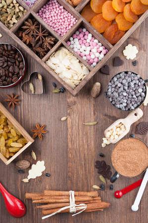 De ingrediënten voor een feestelijke sweet home-baked Stockfoto