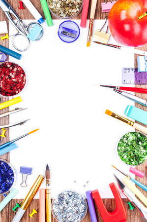 White sheet of paper, surrounded by tools for drawing and big red apple Stock Photo - 17779053