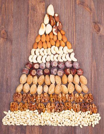piramide alimenticia: Hay varios tipos de frutos secos sobre un fondo de madera, en forma de una pirámide