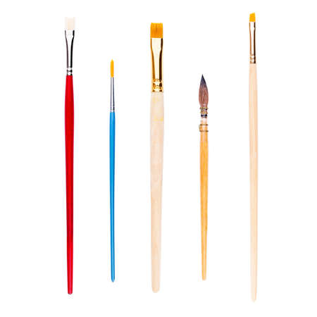 Set of brushes for painting, isolated on white Stock Photo