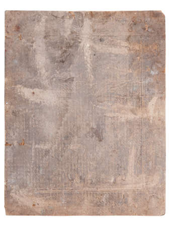 scruffy: Back side of antique photo with water stains isolated on white  Stock Photo