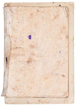Oude vellen papier, genaaid en gelijmd tussen de medische bandage