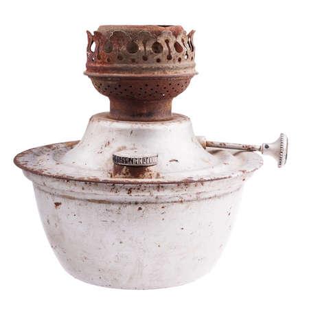 candil: Antigua l�mpara de queroseno oxidado aislado sobre fondo blanco Foto de archivo