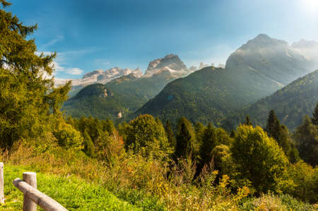 Panoramic view to the Brenta Group or Brenta Dolomites photo