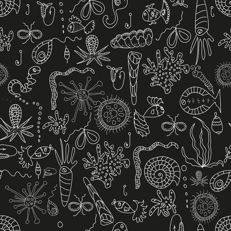 Seamless sea plankton pattern in cartoon style Stock Vector - 21922435