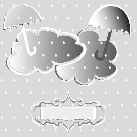 Clouds and umbrellas on a gray background with drops Vector