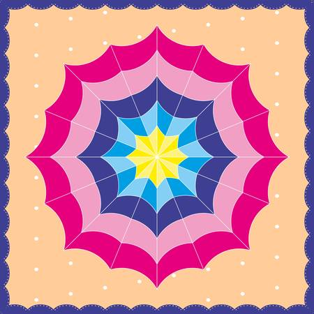 Colorful beach umbrella on a polka dot background, top view Stock Vector - 22036982