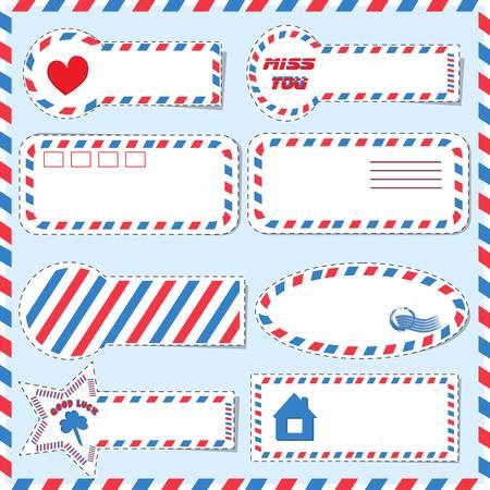 Set postal stickers of different shapes  Illustration
