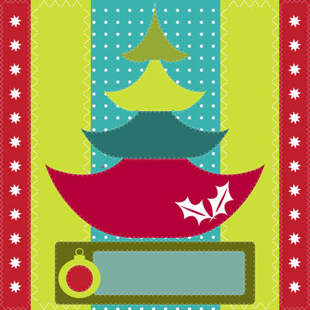 Christmas Tree in the style scrapbook,  Vector