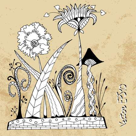 Alien futuristic abstract flowers in zentangle style, vector Vector