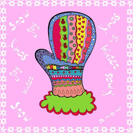 Winter mitten in cartoon and zentangle style Stock Illustratie