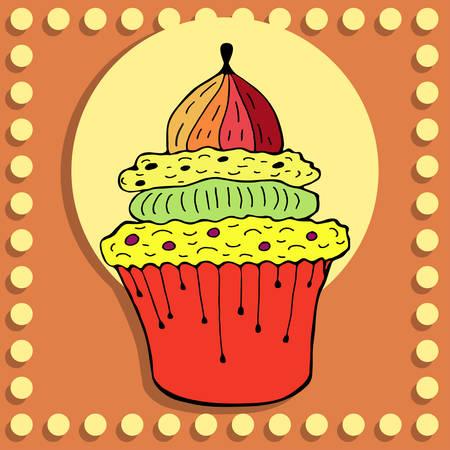 Eenvoudige figuur enkele cupcake in vintage stijl