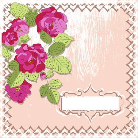 Card in vintage style with roses in scrapbook style , vector Illustration