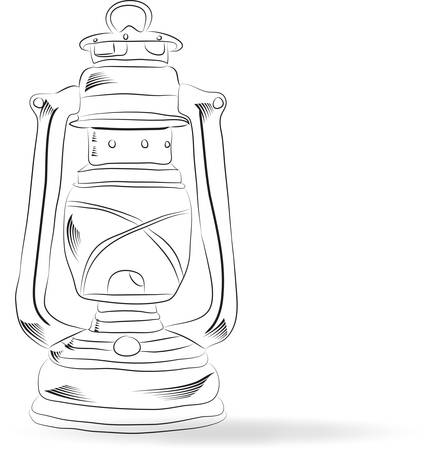 Sketch of old kerosene lamp, vector