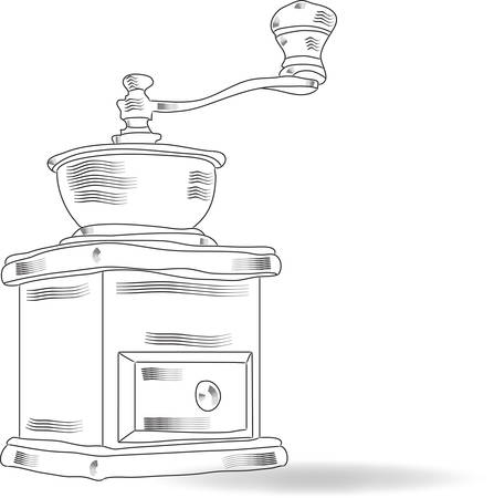 Sketch vintage coffee grinder, vector Vector