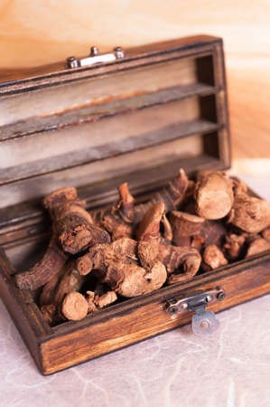 Dried galangal root in the wooden box Stock Photo