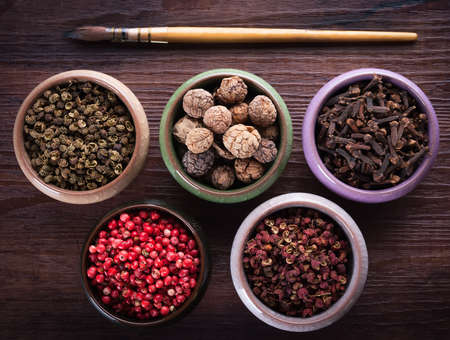 Palette of colors of herbs and spices
