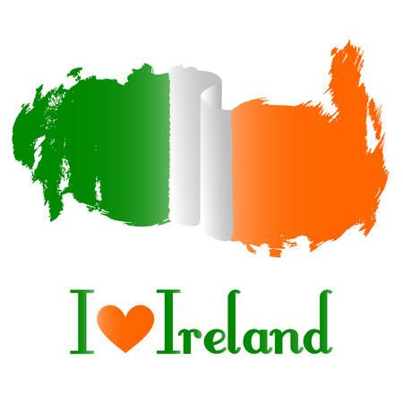 Vlag van Ierland vector op een witte Stock Illustratie