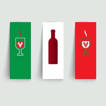 Vaandels ingesteld op Italiaanse wijnen vector