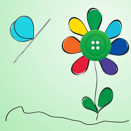 Button and needle provided in the form of a flower and butterfly Vector