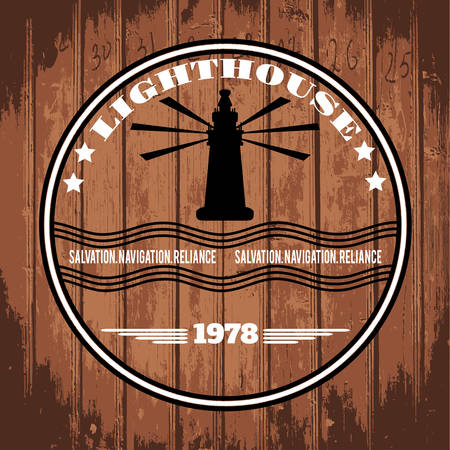 Label with the lighthouse and the text on a wooden board vector Vector