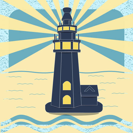 Poster with the lighthouse in vintage style vector Vector