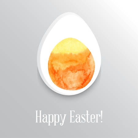 Slice of the eggs with the middle painted watercolor vector Illustration