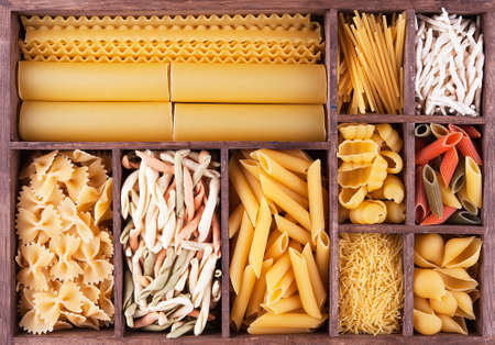 Big Italian pasta collection in wooden box