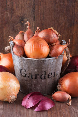 Set of golden, red onions and shallots in a wooden bucket