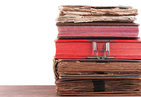 Stack of old books isolated on white Stock Photo