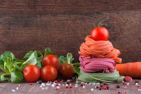 Italian handmade pasta with vegetables