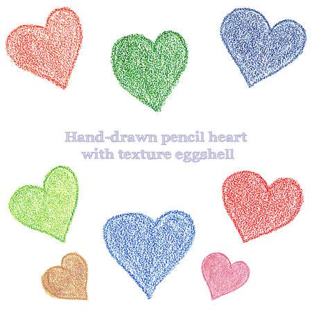 яичная скорлупа: Рука рисования карандашом сердца с текстурой яичной скорлупы вектора