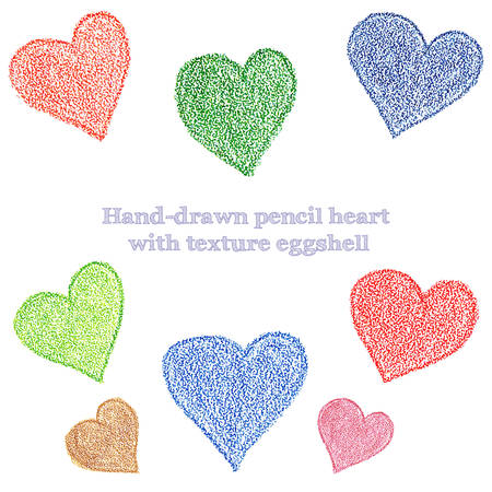 Hand-drawing pencil hearts with the texture of the eggshell vector