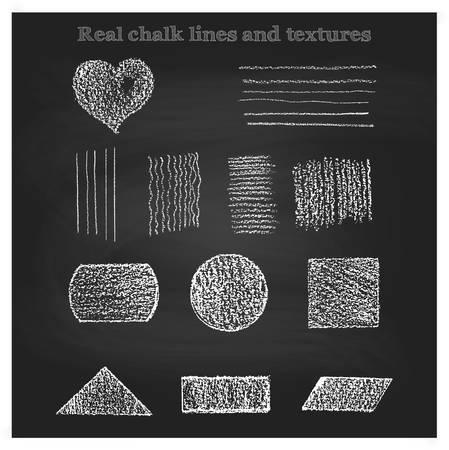 Grote reeks echte krijt patronen en borstels vector