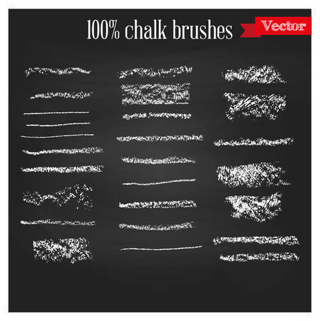 Set real chalk brushes vector